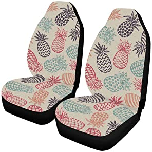 Dreaweet White Daisy Print Car Accessories Front Seat Covers Saddle Blanket with Sweat Absorbent Steering Accessories/&Seat Belt Pads Easy Clean