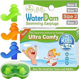 WaterDam Ear Plugs for Swimming Kids – 3 Pairs Ultra...