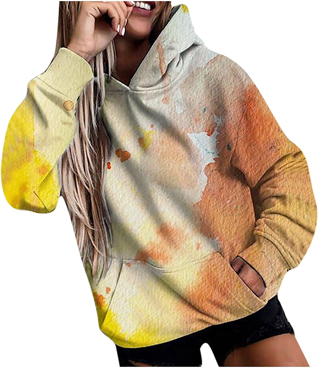 Women Tie-dye Color Block Pullover Sweatshirt Long Sleeve Thick Print Hooded Plus Size Tops with Pockets