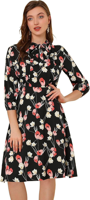Allegra K Women's Floral Tie Neck 3/4 Sleeve Work Midi Flowy Flare Dress