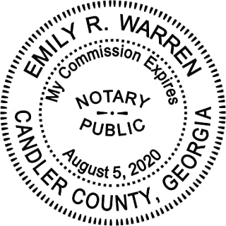 Round Notary Stamp for State of Georgia- Self Inking Stamp - Top Brand Unit with Bottom Locking Cover for Longer Lasting Stamp - 5 Year Warranty
