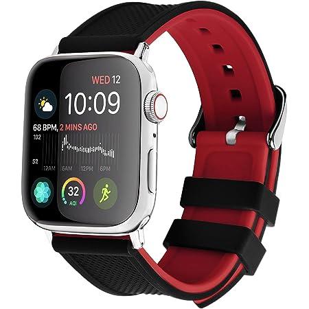 Apple Watch バンド 41mm 40mm 38mm 45mm 44mm 42mm、Fullmosa アップルウォッチバンド iWatch Series 7/6/5/4/3/2/1、SE対応 シリコン製 (ブラック+レッド 42mm/44mm/45mm)