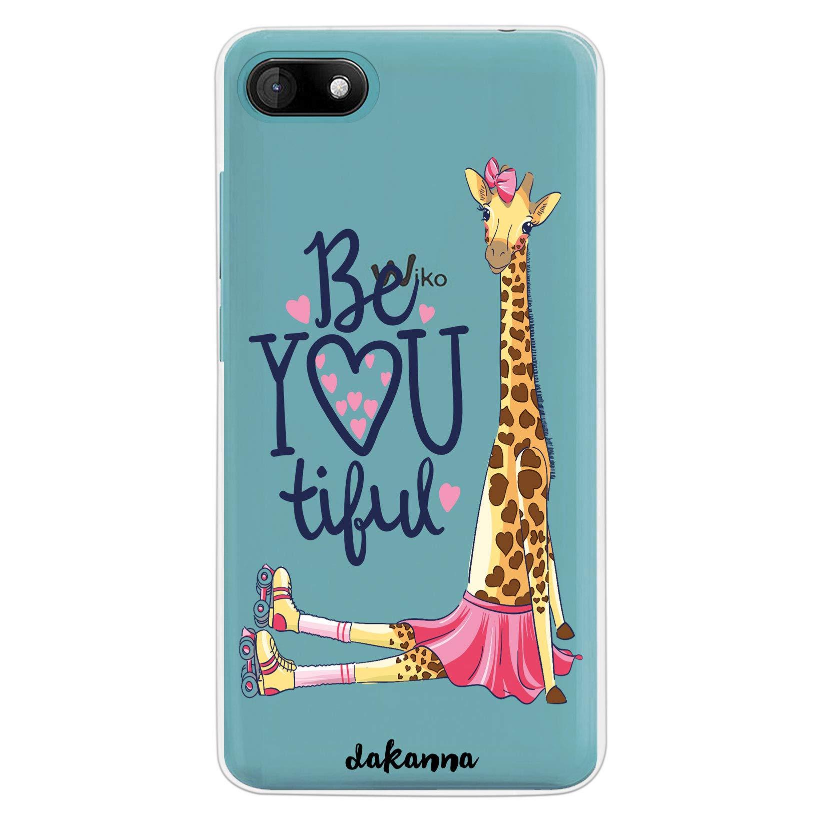 dakanna Funda para [Wiko Sunny 3] de Silicona Flexible, Dibujo Diseño [Girafa con Patines, Corazones y Frase Be You Tiful], Color [Fondo Transparente] Carcasa Case Cover de Gel TPU para Smartphone: Amazon.es: