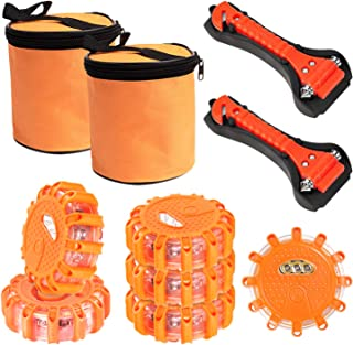 SHINESTAR 6-Pack Roadside Safety Discs, LED Road Flares with Safety Hammer, Batteries and Storage Bag included, Flare Kit ...