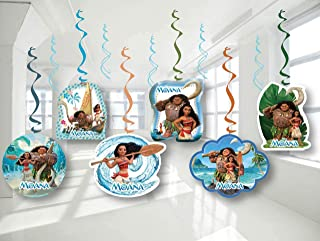 MOANA Birthday Party Decor, Hanging Decoration Swirls, Package of 12 Assorted Set