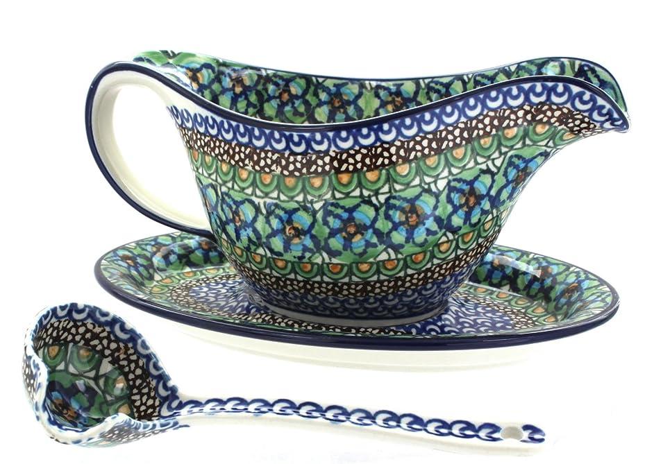 Polish Pottery Mardi Gras Gravy Boat, Plate, & Ladle n0657114990022