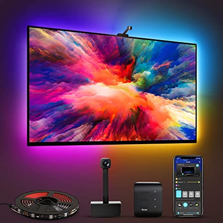 Govee Immersion TV LED Backlights with Camera, RGBIC Ambient Wi-Fi TV Backlights for 55-65 inch TVs PC, Works with Alexa & Google Assistant, App Control, Lights and Music Sync, Adapter H6199