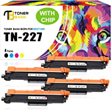 Toner Bank Compatible Toner Cartridge Replacement for Brother TN227 TN-227 TN223 TN-223 for Brother MFC L3770CDW MFC-L3750CDW HL-L3230CDW MFC-L3710CW HL-L3290CDW HL-L3210CW (KCMY, 4 Packs)