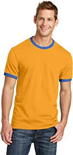 Clementine Port & Company 54Oz 100% Cotton Ringer Tee (PC54R), White/Jet Black, S