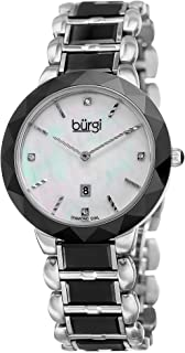 Burgi Women's Diamond Watch - Mother of Pearl Dial 4 Diamond Hour Markers with Date Window On Ceramic Bracelet - BUR147