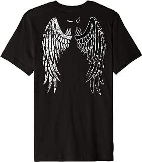 Half Angel Half Devil Back of Shirt Distressed Wing Design Premium T-Shirt