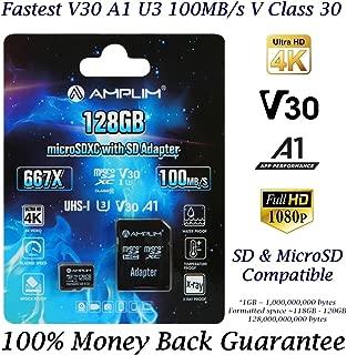 128GB Micro SD SDXC Card Plus Adapter - Amplim 128 GB microSD Card for Cell Phone, Tablet, Camera, GoPro, Nintendo, Fire, DJI (Extreme 100MB/s 667X V30 A1 Class 10 U3 UHS-I Pro TF microSDXC Memory)