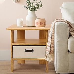 Nova Furniture Group FT009-Endtable-GD Nightstand/Bedside Fabric Storage Basket for Bedroom, End, Sofa Side Table for Living Room, Easy Assembly, Golden