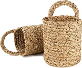 LA JOLIE MUSE Seagrass Woven Hanging Basket Planters Set of 2-Vintage Garden Decor Rattan Fruit Storage Baskets Organizer