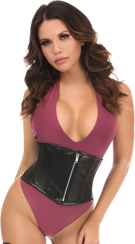 Daisy corsets Women's Black Faux Leather Steel Boned Mini Cincher Corset