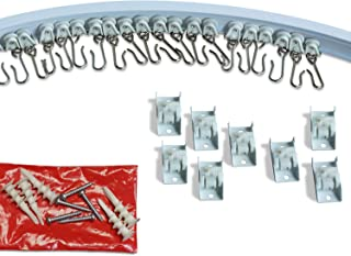 Curtain and Drapery Ceiling Track Set with Hooks 2 Meter (6.5 ft)