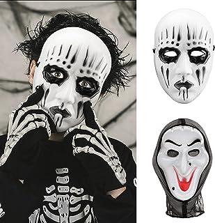 2 Pezzi Halloween Maschere - 1 Maschera in Stile Heavy Metal e 1 Maschera Horror a Testa Intera Vecchia Strega per Hallowe...