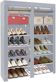 ERONE Shoe Rack Storage Organizer, 28 Pairs Portable Double Row with Nonwoven Fabric Cover Shoe Rack Cabinet for Closet (Grey)