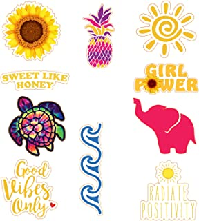 Cute Ocean, Beach, Flower, Elephant, Good Vibes Stickers for Laptop, Water Bottle, Thermos, Lunch Box, Suitcase | Made in USA,%100 Vinyl, Waterproof, Durable