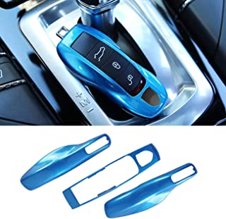 3PCS Remote Key Covers Compatible with Porsche, Jaronx Glossy Blue Key Fob Shell Cover Painted Keyless Entry Skin Protectors (Compatible with:Porsche Boxster Turbo Cayenne Panamera Macan Cayman 911)