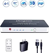 HDMI Switch, 4 Port HDMI Switch with Remote, HDMI Splitter 4 in 1 Out, HDMI Switch Box Support 4K, 1080P, 3D, Support PIP Features