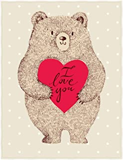 QH 58 x 80 Inch Bear I Love You Pattern Super Soft Throw Blanket for Bed Couch Sofa Lightweight Travelling Camping Throw Size for Kids Adults All Season