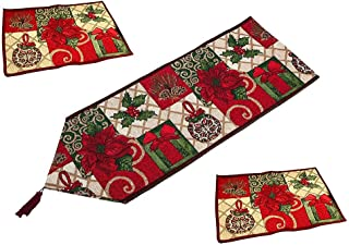 Angelsun Hot Christmas Decorative Table Runner and Placemats,Christmas Thanksgiving Day Flower Polyester Soft Table Runner Cloth Home W