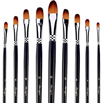 Amagic 9 PCS Filbert Brushes with Case for Acrylic Oil Watercolor Artist Professional Painting Kits with Synthetic Nylon Tips, Long Handle