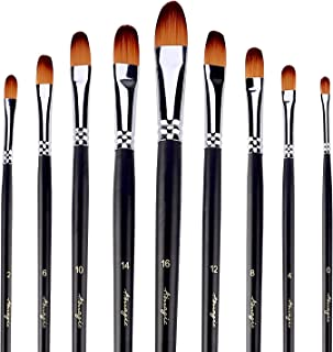 Filbert Brushes for Acrylic Oil Watercolor by Amagic 9 Pcs Artist Face and Body Professional Painting Kits with Synthetic Nylon Tips