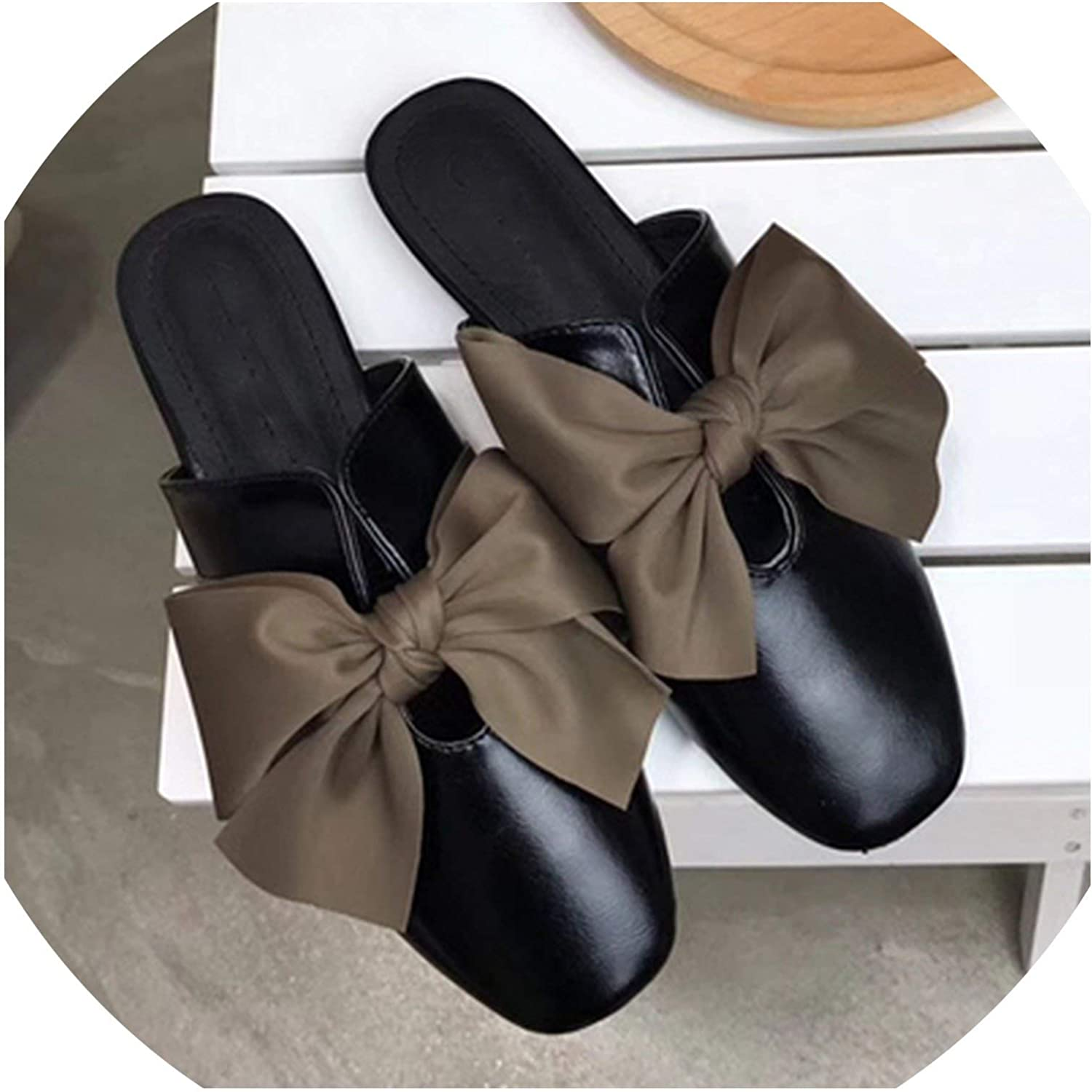 Lewis Pitman Leather shoes Women Mules Bow Tie Soft Pu Flat Slipper Slip-On shoes Vintage Flats Sandals