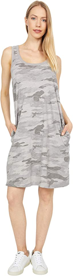Camo Chic Slub Knit Simple Tank Dress with Pockets