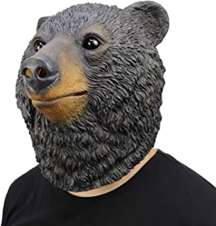 ifkoo Deluxe Black Bear Adult Novelty Animal Latex Over Head Grizzly Bear Head Mask
