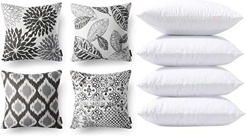 new arrival Phantoscope new arrival Bundles, Set of 4 New Living discount Series Grey Pillow Covers 18 x 18 inches & Set of 4 Pillow Inserts 18 x 18 inches online