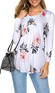LIOFOER Women's Floral Pleated Long Sleeve Tops Casual Flare Blouses Top