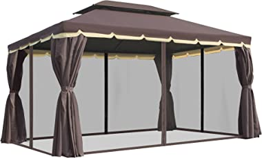 Outsunny 10' x 13' Outdoor Patio Gazebo Canopy with 2-Tier Polyester Roof, Vented Mesh Sidewall, & Strong Aluminu