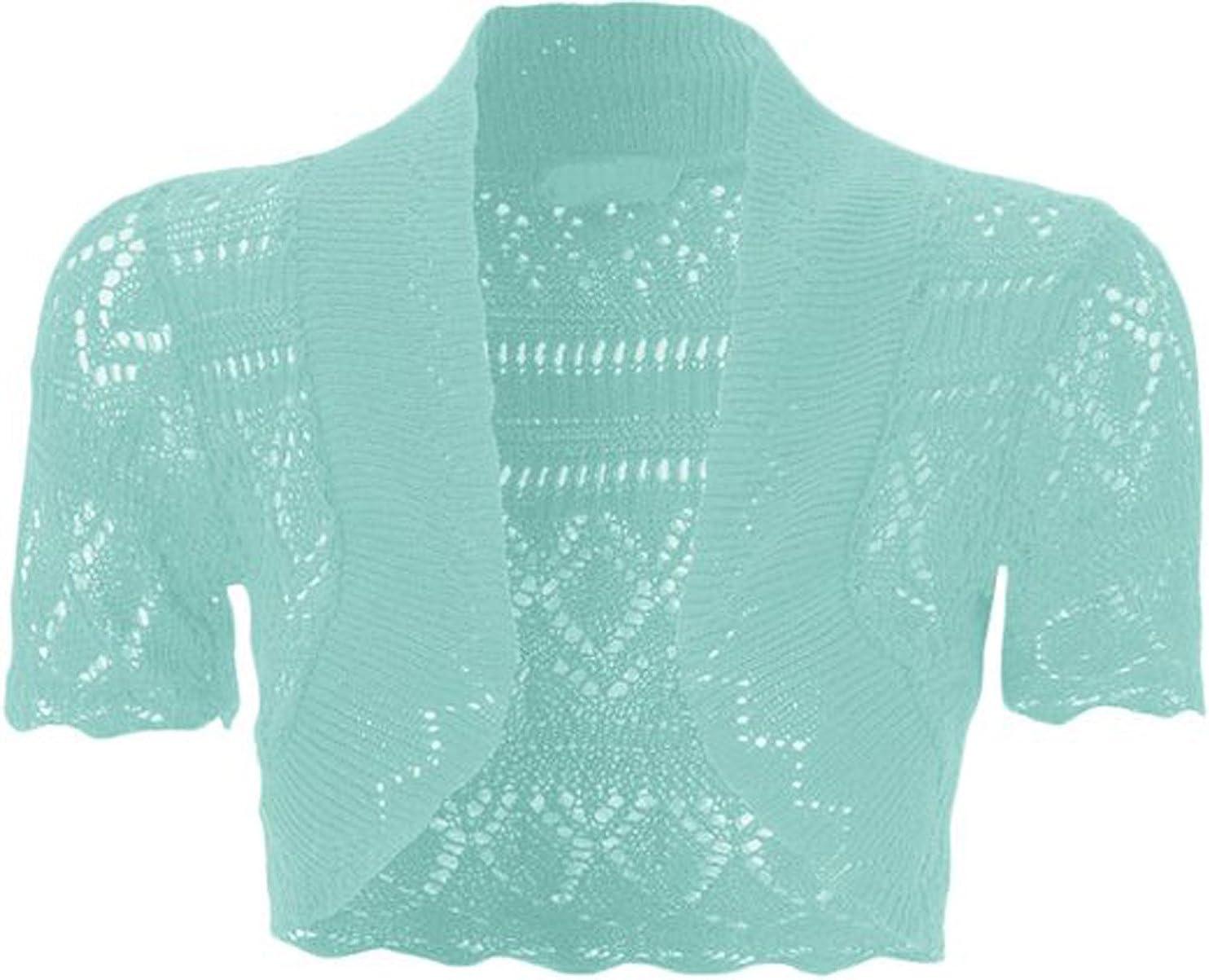 FashionMark Womens Crochet Knitted Bolero Short Sleeve Shrug