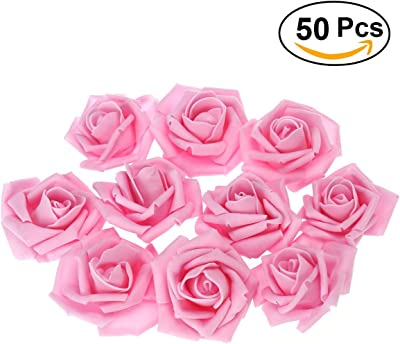 RALMALL 50pcs Artificial Floral Foam Roses Flowers for Home Wedding Arrangement Bouquet Decoration (Pink)