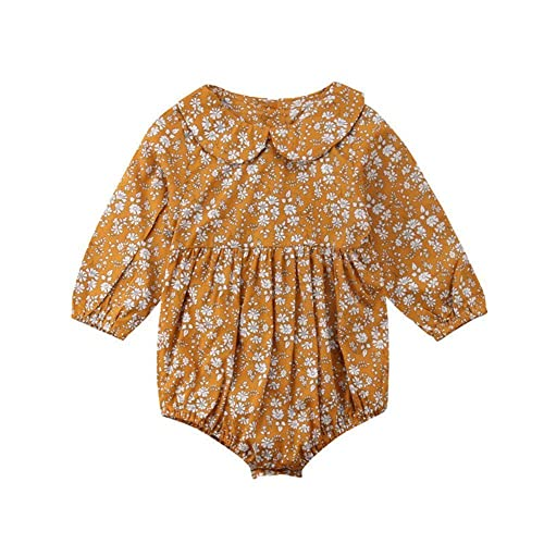 9f6da653bae Cute Infant Baby Girl Romper Bodysuit Kid Spring Long Sleeve Lapel Collar  Floral Jumpsuit Outfits Clothes