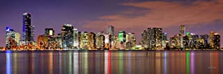 Miami Skyline PHOTO PRINT UNFRAMED DUSK COLOR Downtown City 11.75 inches x 36 inches Photographic Panorama Poster Picture Standard Size