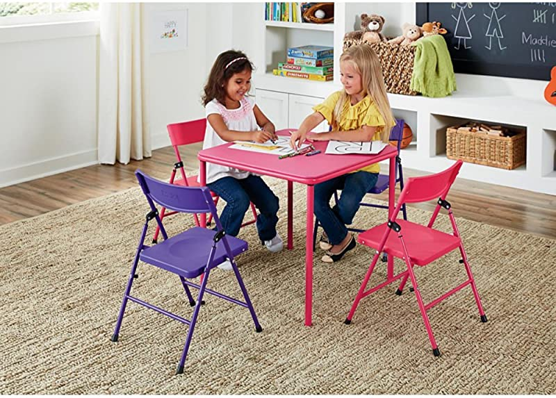 5 Piece Children S Kids Table And Chair Set Pink Purple Table Size 24L X 24W X 21 5H In