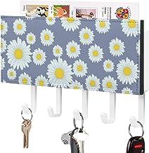 Crochet de clé mural, support mural de trieuse de courrier, organisateur de porte-clé de courrier, fleur blanche motif jau...