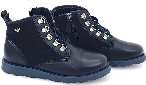 Armani junior  scarpa anfibio alla caviglia casual in pelle B4521