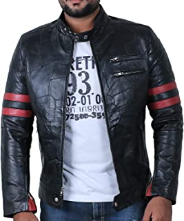 Laverapelle Men's Patch Works Genuine Lambskin Leather Jacket (Black, Racer Jacket)