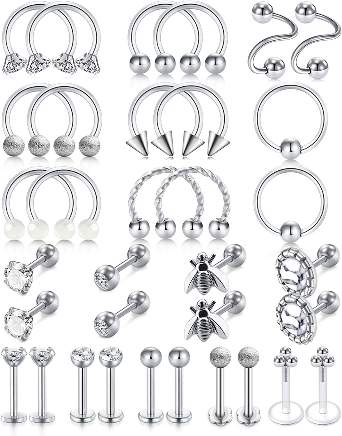 LAURITAMI 16G Tragus Earring Stainless Steel Horseshoe Barbell Forward Helix Hoop Cartilage Earring Lip Rings Labret Stud Eyebrow Ring Rook Daith Piercing Jewelry for Women