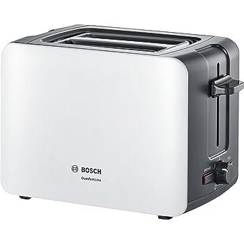 Bosch TAT8611 - Tostador, 860 W, 2 ranuras extra grandes, color blanco y plateado: Amazon.es: Hogar