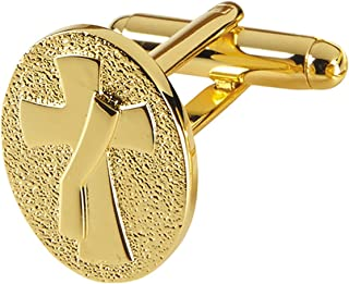 Mens Gold Toned Base Cuff Links for Dress Clerical Shirt, 1/2 Inch