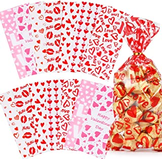 Valentines Day Candy Goody Bags, Valentine Goodie Bags for Kids, 133 Pcs - Valentines Cellophane Treat Bags, Clear Goodie ...