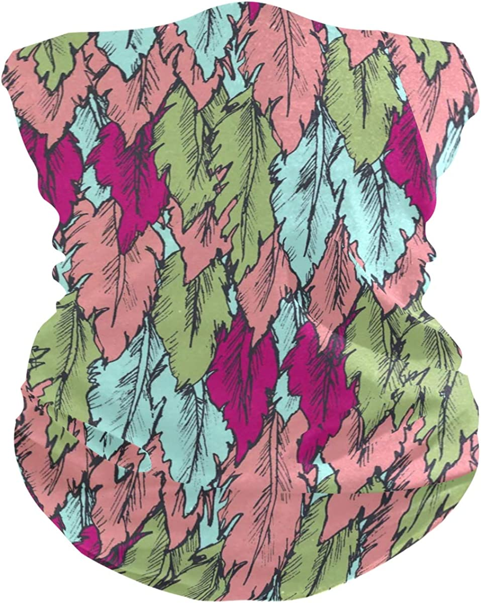 Pink Feathers PatternFace Mask Sun UV Protection Bandana Mask Rave Neck Gaiter Balaclava Headwrap Face Cover Scarf