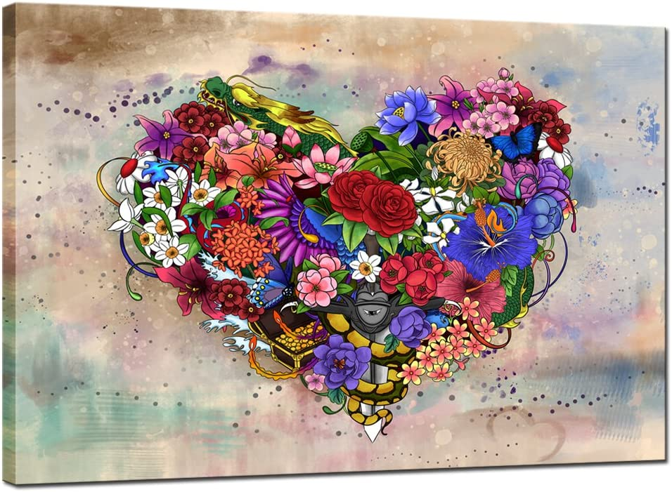 sechars - Max 71% OFF Love Heart Wall Abstract Flower Decor Painting Max 61% OFF Vintage