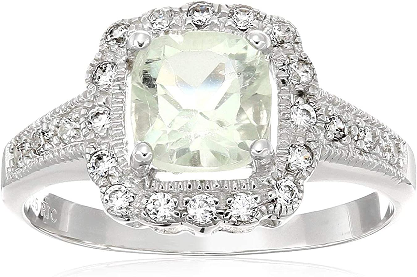 Spring new work one after another 1 cttw ! Super beauty product restock quality top! 7 MM Cushion Cut Green in .925 S Ring Prasiolite Amethyst